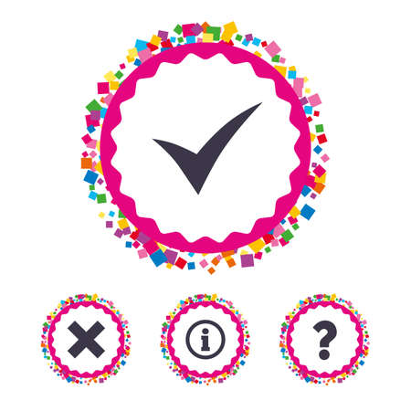 Web buttons with confetti pieces. Information icons. Delete and question FAQ mark signs. Approved check mark symbol. Bright stylish design. Vector Illustration