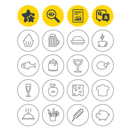 Report, best quality star and Q&A signs. Food and Drinks icons. Beer, coffee and cocktail symbols. Fish and pork meat, hamburger and cheese thin outline signs. Chief hat. Investigate symbol. Vector Illustration