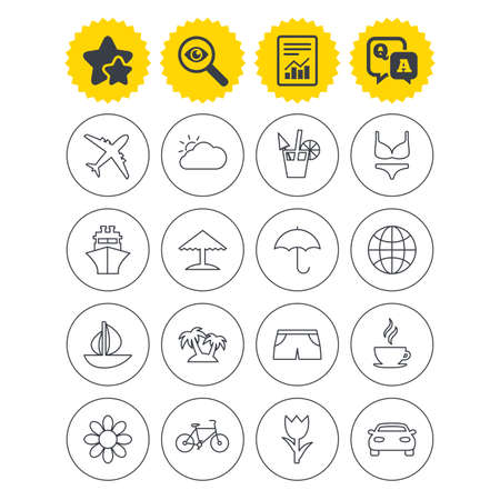 Report, best quality star and Q&A signs. Travel icons. Ship, plane and car transport. Beach umbrella, palms and cocktail. Swimming trunks. Rose or tulip flower. Investigate symbol. Flat buttons Illustration
