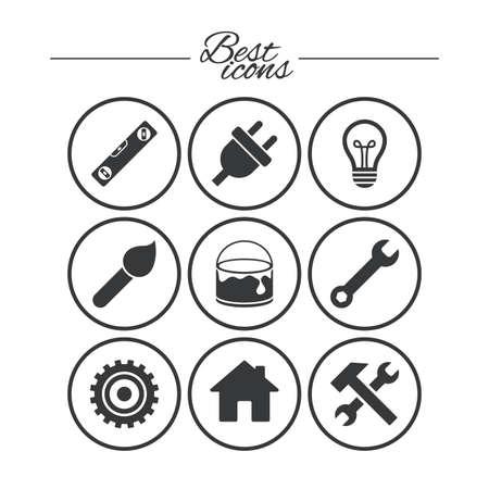 Reparatie, constructie pictogrammen. Hamer, sleutel gereedschap en tandrad tekenen. Stekker, lamp en huis symbolen. Klassieke eenvoudige vlakke pictogrammen. Vector