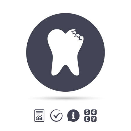 filling folder: Broken tooth icon. Dental care sign symbol. Report document, information and check tick icons. Currency exchange. Vector Illustration
