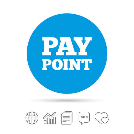 copy machine: Cash and coin sign icon. Pay point symbol. For cash machines or ATM. Copy files, chat speech bubble and chart web icons. Vector