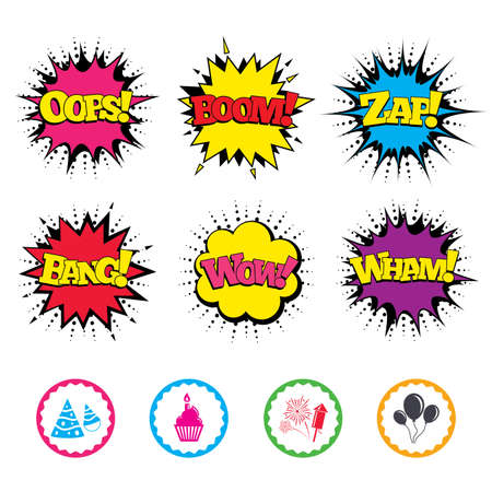 Comic Wow, Oops, Boom and Wham sound effects. Birthday party icons. Cake, balloon, hat and muffin signs. Fireworks with rocket symbol. Cupcake with candle. Zap speech bubbles in pop art. Vector Illustration