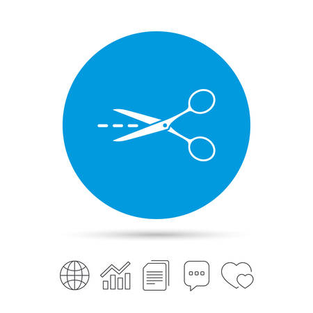 Scissors with cut dash dotted line sign icon. Tailor symbol. Copy files, chat speech bubble and chart web icons. Vector