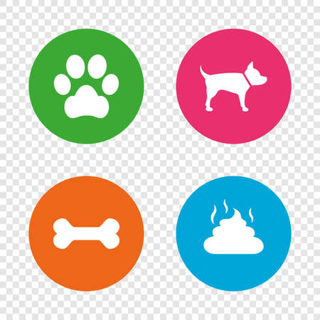 Pets icons. Dog paw and feces signs. Clean up after pets. Pets food. Round buttons on transparent background. Vector