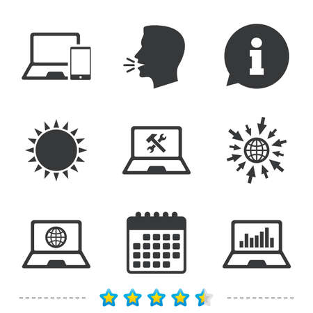 llave de sol: Notebook laptop pc icons. Internet globe sign. Repair fix service symbol. Monitoring graph chart. Information, go to web and calendar icons. Sun and loud speak symbol. Vector