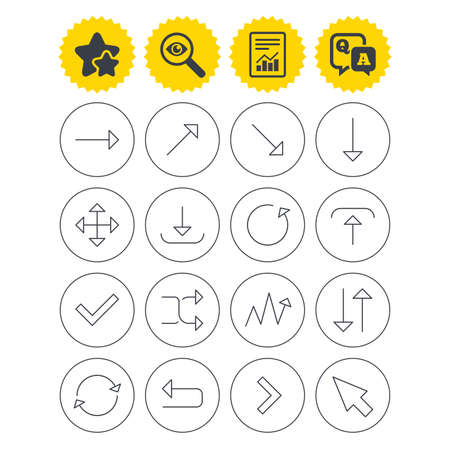 Report, best quality star and Q&A signs. Arrows line icons. Download, upload, check or tick symbols. Refresh, fullscreen and shuffle thin outline signs. Investigate symbol. Flat buttons. Vector