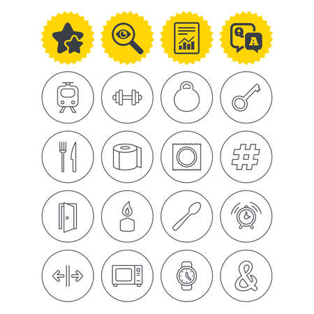 Report, best quality star and Q&A signs. Universal icons. Fitness dumbbell, home key and candle. Toilet paper, knife and fork. Microwave oven. Investigate symbol. Flat buttons. Vector