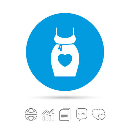 big breast: Pregnant woman dress sign icon. Maternity with heart clothing symbol Copy files, chat speech bubble and chart web icons. Vector