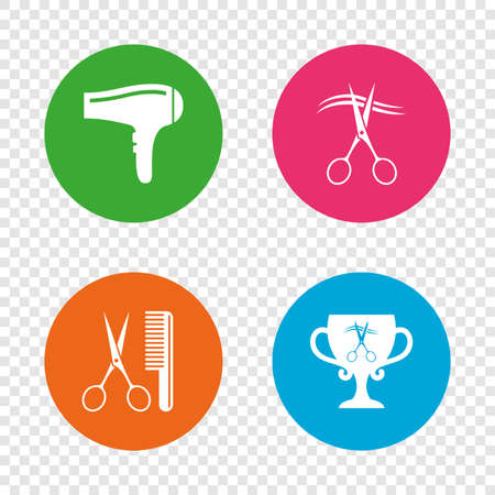 Hairdresser icons. Scissors cut hair symbol. Comb hair with hairdryer symbol. Barbershop winner award cup. Round buttons on transparent background. Vector