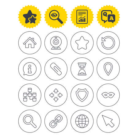 Report, best quality star and Q&A signs. Web elements icons. Paperclip, video camera and information speech bubble. Database, anonymous mask and secure shield. Investigate symbol. Flat buttons. Vector Illustration