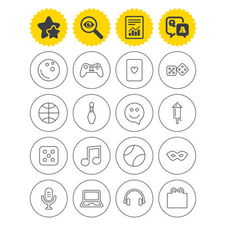 Report, best quality star and Q&A signs. Entertainment icons. Game console joystick, notebook and microphone symbols. Poker playing card, dice and mask thin outline signs. Vector