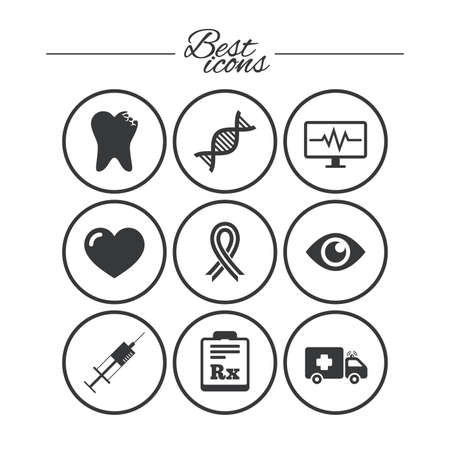 procedure: Medicine, healthcare and diagnosis icons. Tooth, syringe and ambulance signs. Dna, awareness ribbon symbols. Classic simple flat icons. Vector