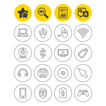 Report, best quality star and Q&A signs. Computer elements icons. Notebook, usb port and smartphone. Printer, smart watch and game console joystick. Bluetooth, flash stick and cursor pointer. Vector
