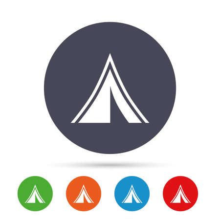 Tourist tent sign icon. Camping symbol. Round colourful buttons with flat icons. Vector