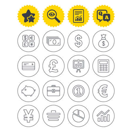Report, best quality star and Q&A signs. Money and business icons. Cash and cashless money. Usd, eur, gbp and jpy currency exchange. Presentation, calculator and shopping cart symbols. Vector Illustration