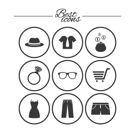 Clothes, accessories icons. Shirt, glasses and hat signs. Wallet with cash coins symbols. Classic simple flat icons. Vector Çizim