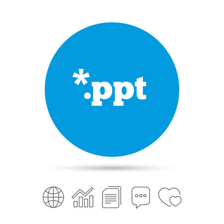 ppt: File presentation icon. Download PPT button. PPT file extension symbol. Copy files, chat speech bubble and chart web icons. Vector