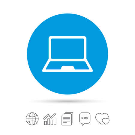 Laptop sign icon. Notebook pc symbol. Copy files, chat speech bubble and chart web icons. Vector