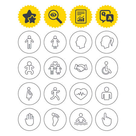 Report, best quality star and Q&A signs. Human icons. Male and female symbols. Infant toddler and pregnant woman. Wheelchair for disabled. Success deal handshake. Investigate symbol. Flat buttons