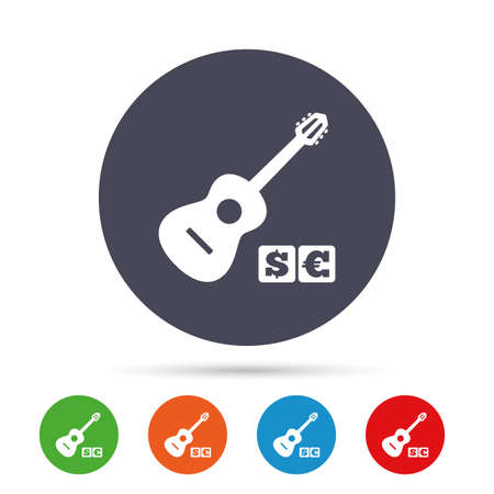 Acoustic guitar sign icon. Paid music symbol. Round colourful buttons with flat icons. Vector