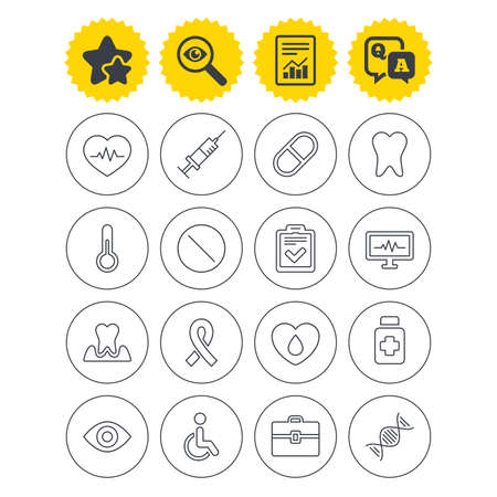 Report, best quality star and Q&A signs. Medicine icons. Syringe, heartbeat and pills symbols. Tooth health, eye and blood donate. Awareness ribbon. Investigate symbol. Flat buttons. Vector