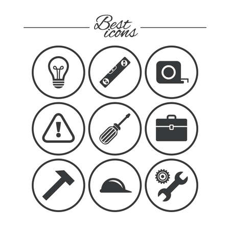 Reparatur, Bau-Ikonen. Ingenieur-, Helm- und Schraubendreherzeichen. Lampe, Elektrizität und Aufmerksamkeit Symbole. Klassische einfache flache Symbole. Vektor Standard-Bild - 73098886