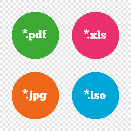 Document icons. File extensions symbols. PDF, XLS, JPG and ISO virtual drive signs. Round buttons on transparent background. Vector