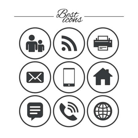 Contact, mail icons. Communication signs. E-mail, chat message and phone call symbols. Classic simple flat icons. Vector