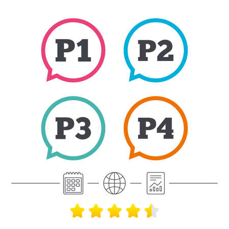 second floor: Car parking icons. First, second, third and four floor signs. P1, P2, P3 and P4 symbols. Calendar, internet globe and report linear icons. Star vote ranking. Illustration