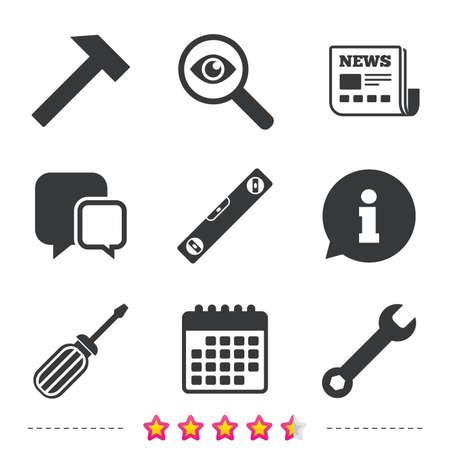Schraubenzieher- und Schlüsselschlüssel-Werkzeugikonen. Wasserwaage und Hammer Zeichen Symbole. Zeitungs-, Informations- und Kalenderikonen. Lupe, Chat-Symbol untersuchen. Vektor Standard-Bild - 73621786