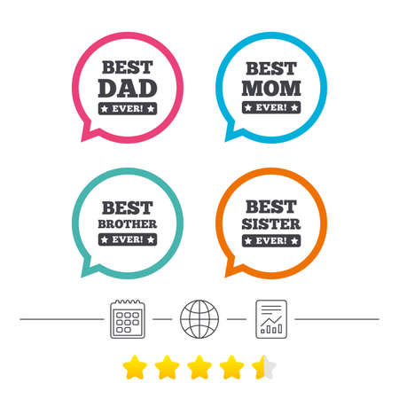 Best mom and dad, brother and sister icons. Award with exclamation symbols. Calendar, internet globe and report linear icons. Star vote ranking.