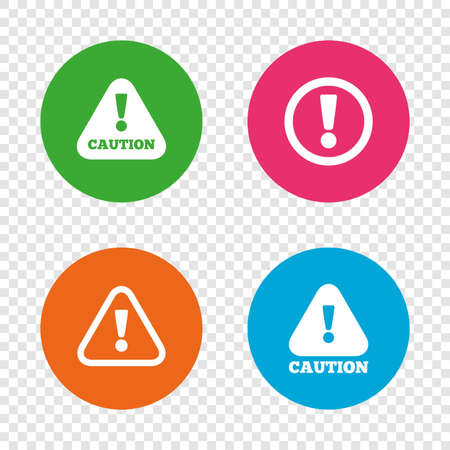 Attention caution icons. Hazard warning symbols. Exclamation sign. Round buttons on transparent background. Vector Illustration
