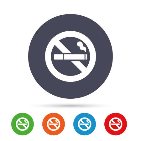 No Smoking sign icon. Cigarette symbol. Round colourful buttons with flat icons. Vector