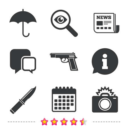 Gun weapon icon.Knife, umbrella and photo camera with flash signs. Edged hunting equipment. Prohibition objects. Newspaper, information and calendar icons. Investigate magnifier, chat symbol. Vector