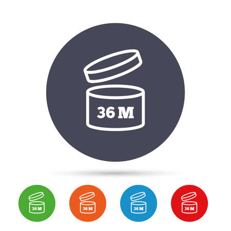 36: After opening use 36 months sign icon. Expiration date. Round colourful buttons with flat icons. Vector
