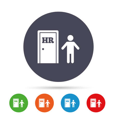 Human resources sign icon. HR symbol. Workforce of business organization. Man at the door. Round colourful buttons with flat icons.