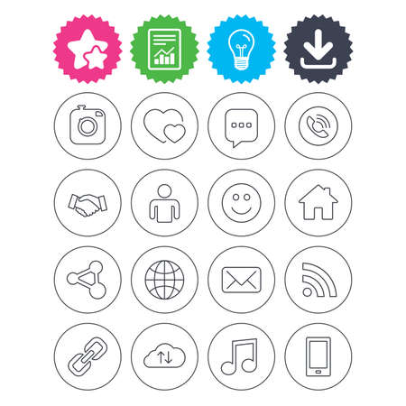 Download, light bulb and report signs. Social media icons. Speech bubble, lovers relationships and human person. Rss, share and mail envelope. Musical note, smartphone and smile. Vector Illustration