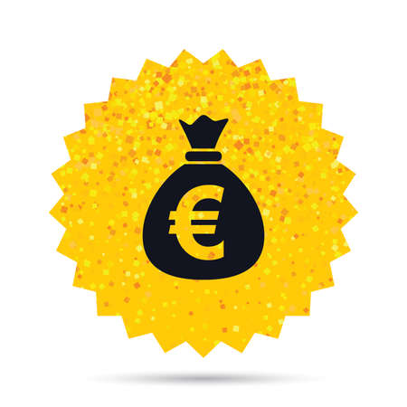 Gold glitter web button. Money bag sign icon. Euro EUR currency symbol. Rich glamour star design. Vector