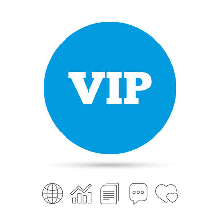 heart very: Vip sign icon. Membership symbol. Very important person. Copy files, chat speech bubble and chart web icons. Vector