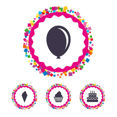 fire and ice: Web buttons with confetti pieces. Birthday party icons. Cake with ice cream signs. Air balloon symbol. Bright stylish design. Vector