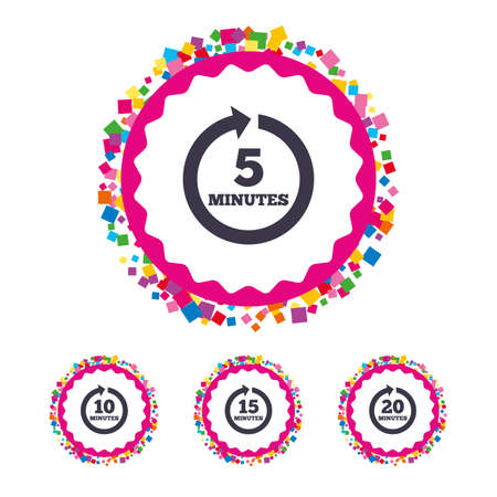 Web buttons with confetti pieces. Every 5, 10, 15 and 20 minutes icons. Full rotation arrow symbols. Iterative process signs. Bright stylish design. Vector Ilustrace
