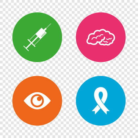 Medicine icons. Syringe, eye, brain and ribbon signs. Breast cancer awareness symbol. Human intelligent smart mind. Round buttons on transparent background. Vector