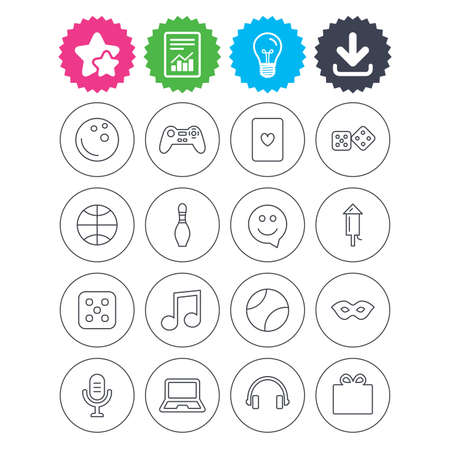 Download, light bulb and report signs. Entertainment icons. Game console joystick, notebook and microphone symbols. Poker playing card, dice and mask thin outline signs. Vector Illustration