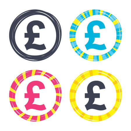 Pound sign icon. GBP currency symbol. Money label. Colored buttons with icons. Poker chip concept. Vector Illustration