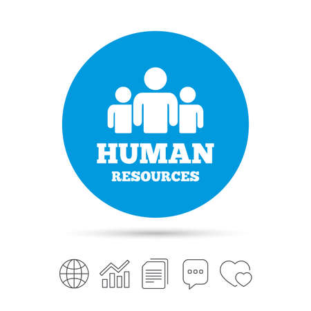 Human resources sign icon. HR symbol. Workforce of business organization. Group of people. Copy files, chat speech bubble and chart web icons. Vector