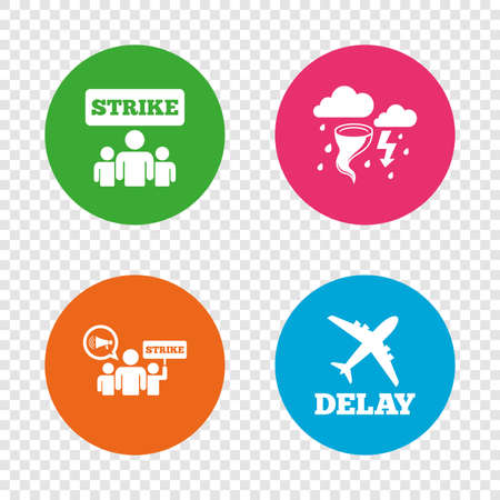 Strike icon. Storm bad weather and group of people signs. Delayed flight symbol. Round buttons on transparent background. Vector