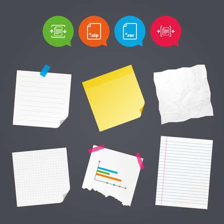 ビジネス ノートと紙バナー。ファイルのアイコンをアーカイブします。圧縮の zip 形式の文書に署名。データ圧縮のシンボル。カラフルなテープ。吹き出しアイコン。ベクトル 写真素材 - 73685672