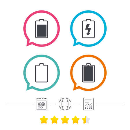 energy ranking: Battery charging icons. Electricity signs symbols. Charge levels: full, empty. Calendar, internet globe and report linear icons. Star vote ranking. Vector Illustration