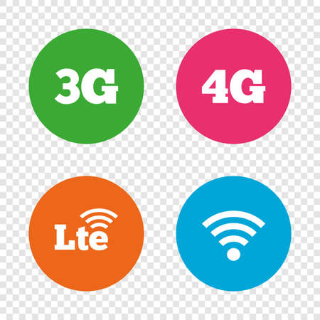 Mobile telecommunications icons. 3G, 4G and LTE technology symbols. Wi-fi Wireless and Long-Term evolution signs. Round buttons on transparent background. Vector